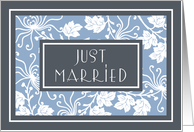 Blue Flowers Just Married Announcement Card