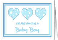 Blue Hearts We're Expecting a Boy Card
