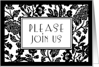 Black and White Flowers Engagement Party Invitation Card