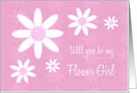 Pink Flowers Will you be my Flower Girl Cousin Card
