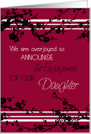 Red Floral Engagement of Daughter Announcement Card