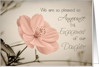 Pink Flower Engagement of Daughter Announcement Card