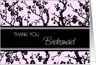 Pink Black Floral Friend Bridesmaid Thank You Card