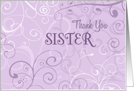 Purple Swirls Sister Thank You Bridesmaid Card