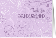 Lavender Swirls Sister in Law Thank You Bridesmaid Card