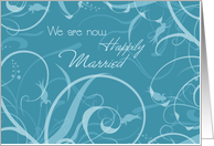 Turquoise Floral Marriage Announcement Card