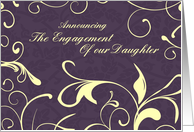 Purple Yellow Engagement of our Daughter Announcement Card