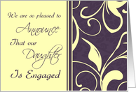 Purple Yellow Daughter Engagement Announcement Card