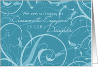 Turquoise Daughter Engagement Announcement Card