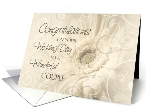Beige Floral Swirls Congratulations on Wedding Day card (630769)