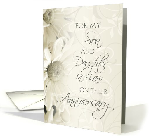 White Floral For Son & Daughter in Law Happy Wedding Anniversary card