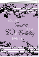 20th birthday invitations from greeting card universe 20th birthday party invitation card purple and black floral card filmwisefo
