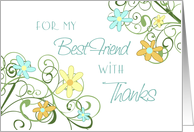 Thank You Bridesmaid Best Friend Card - Garden Flowers Floral card