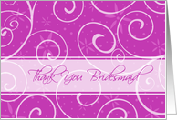 Thank You Bridesmaid Friend Card - Pink Swirls card