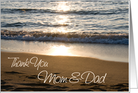 Parents Thank You Wedding Day Card - Wave at Sunset card