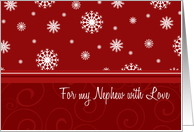 Christmas for Nephew Card - Red White Snowflakes card