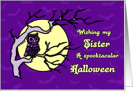 Happy Halloween for Sister Card - Purple Owl and Full Moon card