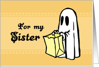 Happy Halloween for Sister - Orange Ghost card