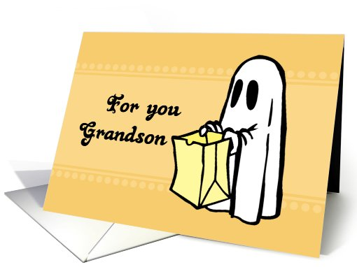 Happy Halloween for Grandson - Orange Ghost card (685445)