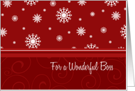 Merry Christmas Boss Card - Red & White Snow card