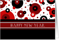 happy new year for teacher card red black white dots card