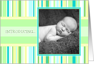 Adoption Announcement Photo Card - Pastel Stripes card