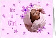 Girl Adoption Announcement Photo Card - Pink Flowers card