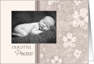 Girl Birth Announcement Photo Card - Antique Pink Flowers card