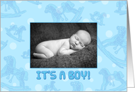 Boy Birth Announcement Photo Card - Pastel Flowers card