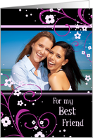 Happy Birthday Best Friend Photo Card - Black and Pink Swirls card