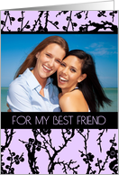 Happy Birthday Best Friend Photo Card - Black and Purple Floral card