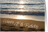 Happy 45th Birthday - Waves at Sunset card