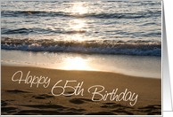 Happy 65th Birthday - Waves at Sunset card
