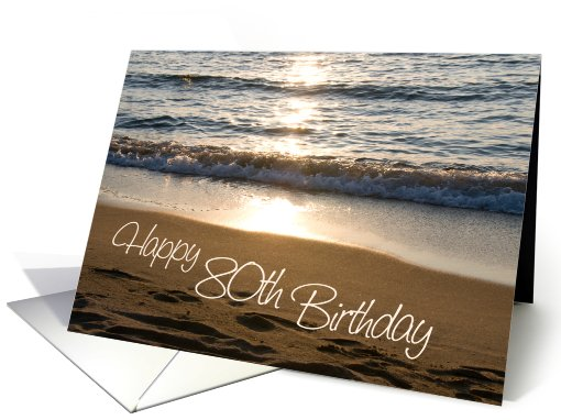 Happy 80th Birthday - Waves at Sunset card (744510)