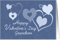 Happy Valentine's Day for Grandson - Blue Hearts card