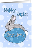 Happy Easter for Grandson - Blue Easter Bunny card