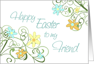 Happy Easter for Friend - Spring Flowers card