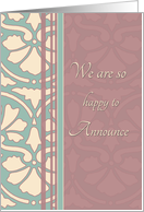 Daughter Engagement Announcement - Antique Teal & Rose card