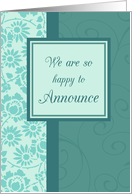 Daughter Engagement Announcement - Turquoise Floral card