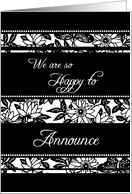 Daughter Engagement Announcement - Black & White Floral card
