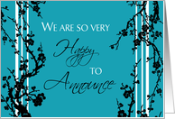 Daughter Engagement Announcement - Black & Turquoise Floral card