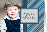 Happy 1st Father's Day Photo Card - Blue Stripes card