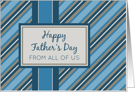 Happy Father's Day for Dad from All of Us - Blue Stripes card