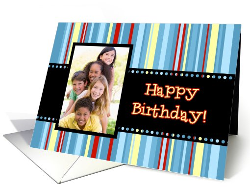 Happy Birthday Photo Card - Colorful Stripes card (835908)