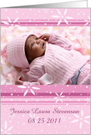 Girl Birth Announcement Photo Card - Pink Flowers card