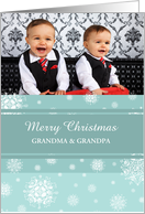 Merry Christmas Grandparents Photo Card - Teal White Snowflakes card