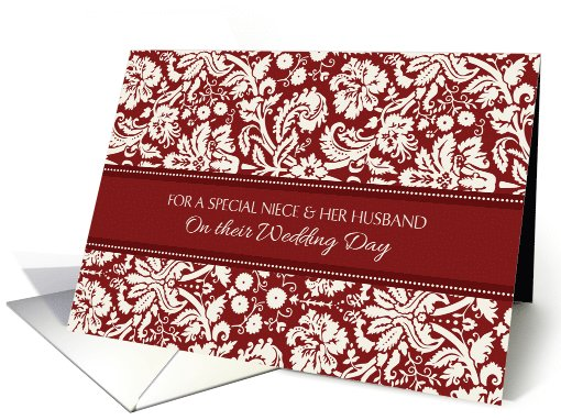 Wedding Congratulations Niece & her Husband - Red Damask card (998289)