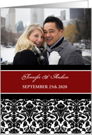 Wedding Invitation Photo Card - Red Black Damask card