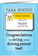 Congratulations - Passing Driver's Permit Test card