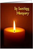 In Loving Memory lit candle remembrance of death card